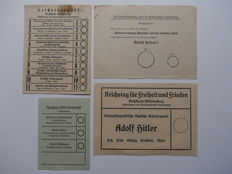 4 ballot papers from the German Empire – 1933-1938