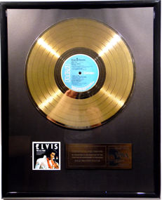 """Elvis Presley - The U.S. Male -  12"""" german RCA record gold plated record by WWA Awards"""