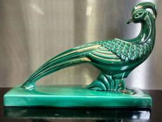 Large faience green glazed earthenware sculpture of a golden pheasant.