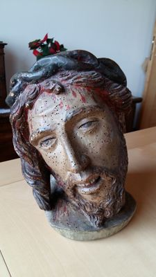Ancient polychrome wooden sculpture of a dying Christ - mid 18th / early 19th century