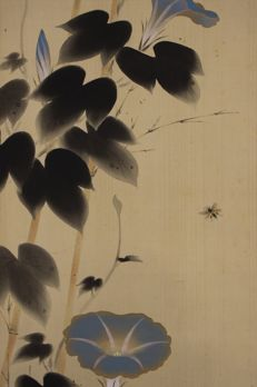 "Hanging scroll painting ""Morning glory and Bee"" - Japan  - Early 20th century"