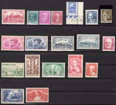 France 1934/1935 - Two complete years - Yvert no. 290/308 including ones signed by CALVES.