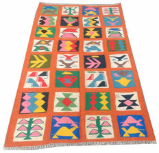 Amazing Pictorial Hand Woven Turkish Kilim Carpet Rug 178 cm x 97 cm