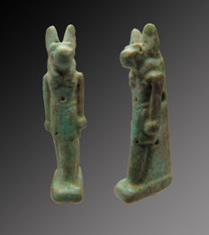 Egyptian faience Anubis amulet - 25 mm