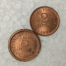 Portugal – Republic – 2 Centavos 1921 and 5 Centavos 1920 – Lisbon