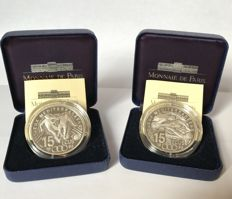 """France - 100 Francs (15 Ecus) 1993 """"XII Mediterranean games"""" football and swimming (lot of two coins) - silver."""