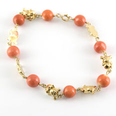 18 kt gold – Bracelet – Pacific coral – Length: 17.00 mm (approx.).
