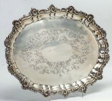 Multipurpose silver tray. Spain. 20th century.