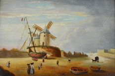 Unknown (19/20th century) - A Dutch estuary scene with figures, boat and windmills.