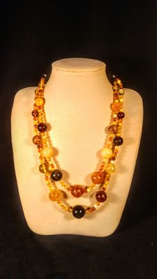 Round beads modified Baltic Amber necklace, 76 grams