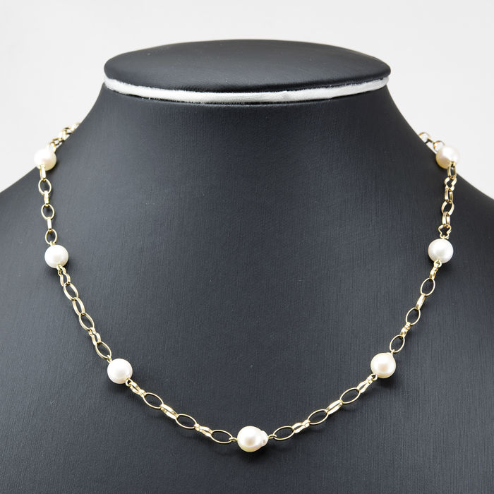 Yellow gold 18 kt/750 - Choker - Akoya Pearls - Diameter 7.00 mm - Length: 45 cm (approx)