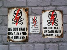 3 x Polish Curved Enamel electricity warning signs - ca 60's
