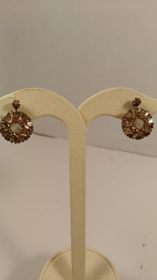 Gold and silver earrings with diamonds – Early 1900s