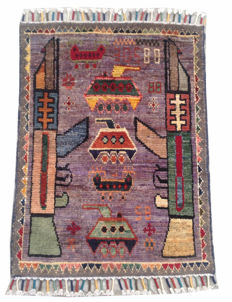 NO RESERVE ! NEW STYLE Afghan Hand Knotted WAR DESIGN Area Rug 85 cm x 62 cm