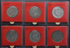 The Netherlands – 1 guilder 1845 through 1849 (6 different coins) Willem II – silver