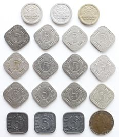 The Netherlands – 5 cents 1907/1948 Wilhelmina (19 different coins) complete