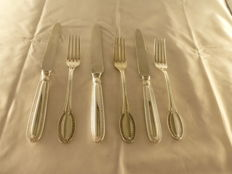 Fruit cutlery set in silver, Italy, 20th century