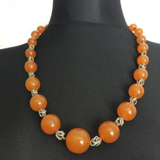 Antique butterscotch/ orange Baltic Amber necklace with royal king's silver chain , 64.7 grams, natural amber,  1920's