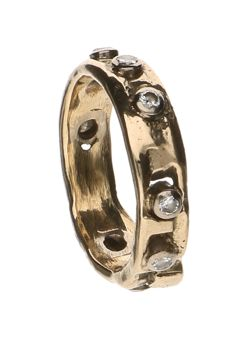 Yellow gold ring set with 8 rose cut diamonds of approx. 0.04 ct each Weight: 4.5 g