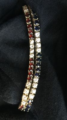 Set of bracelets set with zirconias, sapphires, and garnets