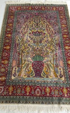 Pakistani Qom carpet, hand-knotted, Iran, mid-20th century Wool and silk on cotton..