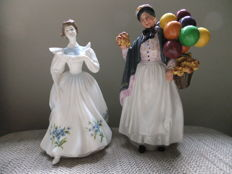 Pair of porcelain figures , Royal Doulton , Biddy Penny , July