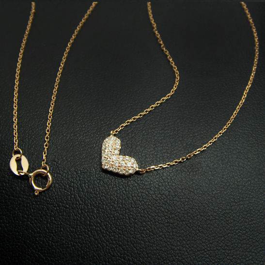 18K gold necklace with 0.21ct of  diamonds  - 41.5cm