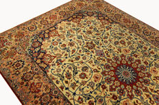 Fine Persian carpet Isfahan 3.15 x 2.10 cream handwoven high quality new wool oriental carpet GREAT CONDITION