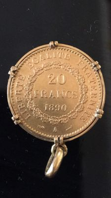 "France - 20 Francs 1890 A ""Génie"" set on pendant - Gold"