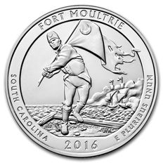 United States - US Mint - America the Beautiful - Fort Moultrie National Monument 2016 - Large 5 oz 999 silver coin