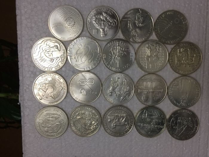 Portuguese Republic – Set of 19 Coins – 1,000 Escudos - 1992 to 2001 (includes 'O LOBO'/'THE WOLF') – Silver