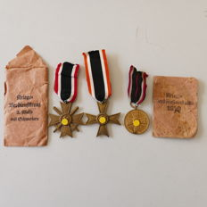2 War Merit Crosses and a War Merit Medal of from WW2 of the Wehrmacht