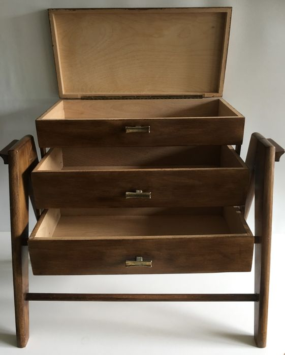 Fold Out Trapeze Model Sewing Box Or Sewing Cabinet, Unique Model, From Ca