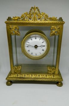 French Bronze and Glass Table Clock - circa 1880