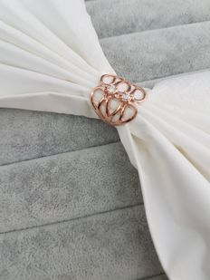 18 kt rose gold ring with 0.20 ct of diamonds G VSI - Made in Italy - Size: 13 - Diameter: 17 mm
