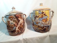 Pair of painted majolica pots Italy, late 19th century