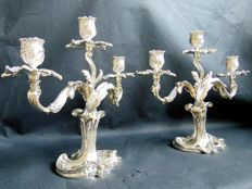 Pair 3-armed Christofle candle stands, Style Louis XV Rococco, 19th century
