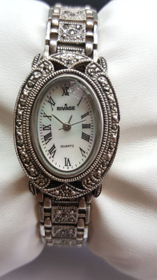 925 silver vintage women's watch set with marcasite