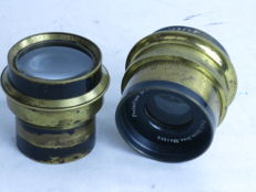 Lot of two brass lenses: Carl Zeiss and Cooke Anastigmat.