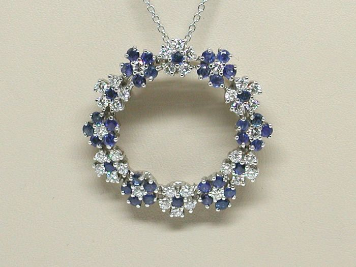 18K Necklace / Diamond & Sapphire pendant total: 3,69ct. - Length chain: choose between 40, 42, 45 or 50cm.