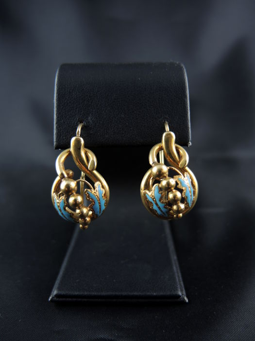 Dormeuses earrings in yellow gold and turquoise enamel - 19th century