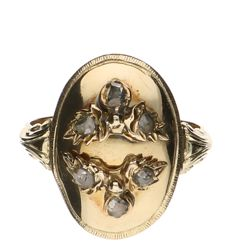 Yellow gold ring set with 6 point cut diamonds of approx. 0.07 ct each.