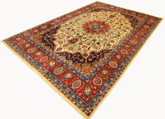 Fine Persian carpet Mashad 3.64 x 2.59 cream/red handwoven high quality new wool oriental carpet signature great condition