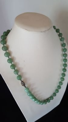 Antique necklace with Jade beads and sterling silver clasp, probably Chinese