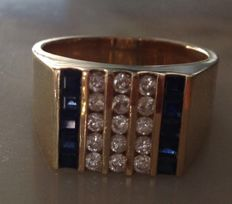 Mixed ring made of 18 kt gold with diamonds 0,10 ct and sapphires ,size 18.2 milllimeters