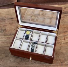 Luxury Walnut Wood Watch Box - Satin finish - with lower draw for further watches, cufflinks etc - in new condition