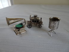 3 pieces silver miniatures, including a carriage, hive and record player