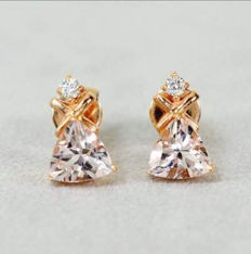 18 kt rose gold earrings with morganite and diamond