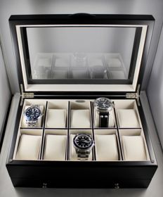 Luxury Black Wood Watch Box - Satin finish - with lower draw for further watches, cufflinks etc - in new condition