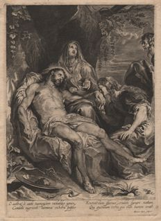 Anthony van Dyck ( 1599 - 1641) - The Lamentation, Chirst between Mary and Mary Magdalena - Etched by Hendrick Snyderse (1621 - 1667) - Around 1640